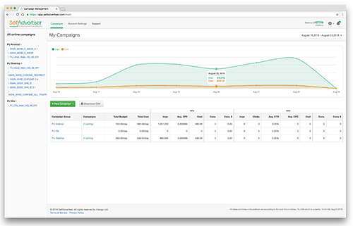 SelfAdvertiser Dashboard